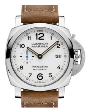 Panerai PAM 1499 Luminor Marina Stainless Steel White Arabic Dial & Smooth Leather Bracelet 44mm - BRAND NEW