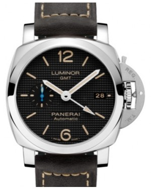 Panerai PAM 1535 Luminor GMT Stainless Steel Black Arabic / Index Dial & Smooth Leather Bracelet 42mm - BRAND NEW
