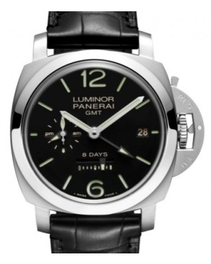 Panerai PAM 233 Luminor 8 Days GMT Stainless Steel Black Arabic / Index Dial & Smooth Leather Bracelet 44mm - BRAND NEW