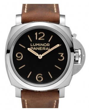 Panerai PAM 372 Luminor Stainless Steel Black Arabic / Index Dial & Smooth Leather Bracelet 47mm - BRAND NEW