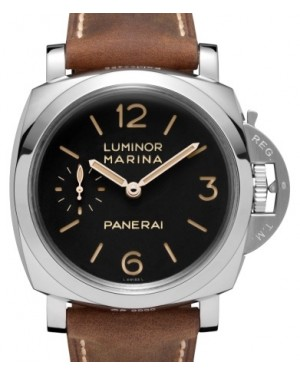Panerai PAM 422 Luminor Marina Stainless Steel Black Arabic / Index Dial & Smooth Leather Bracelet 47mm - BRAND NEW