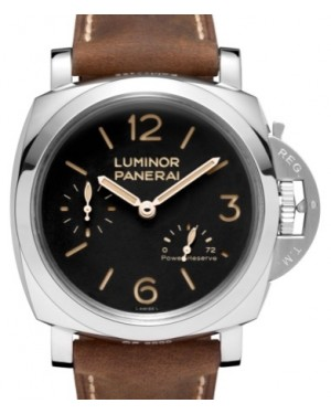 Panerai PAM 423 Luminor Power Reserve Stainless Steel Black Arabic / Index Dial & Smooth Leather Bracelet 47mm - BRAND NEW