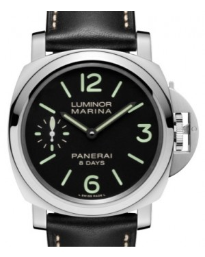Panerai PAM 510 Luminor 8 Days Stainless Steel Black Arabic / Index Dial & Smooth Leather Bracelet 44mm - BRAND NEW