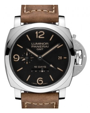 Panerai PAM 533 Luminor GMT 10 Days Stainless Steel Black Arabic / Index Dial & Smooth Leather Bracelet 44mm - BRAND NEW