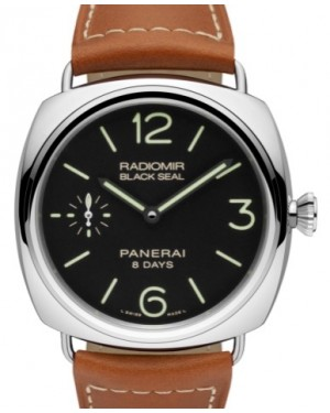 Panerai PAM 609 Radiomir Black Seal 8 Days Stainless Steel Black Arabic / Index Dial & Smooth Leather Bracelet 45mm - BRAND NEW