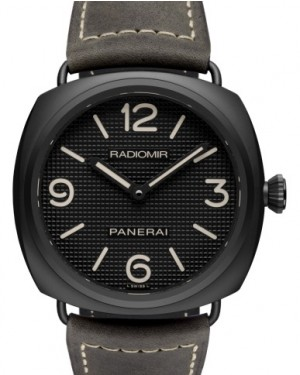 Panerai PAM 643 Radiomir Ceramica Ceramic Black Arabic / Index Dial & Smooth Leather Bracelet 45mm - BRAND NEW