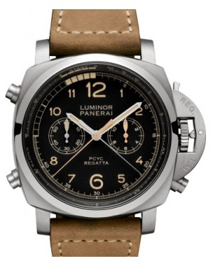 Panerai PAM 652 Luminor Regatta Chrono Flyback Titanium Black Arabic Dial & Smooth Leather Bracelet 47mm - BRAND NEW