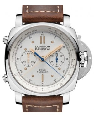 Panerai PAM 654 Luminor Yachts Challenge Stainless Steel Ivory Index / Dot Dial & Smooth Leather Bracelet 44mm - BRAND NEW