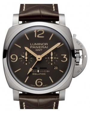 Panerai PAM 656 Luminor Equation of Time Titanium Brown Arabic / Index Dial & Smooth Leather Bracelet 47mm - BRAND NEW