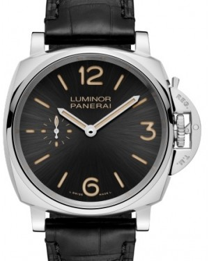 Panerai PAM 676 Luminor Due Stainless Steel Black Arabic / Index Dial & Smooth Leather Bracelet 42mm - BRAND NEW