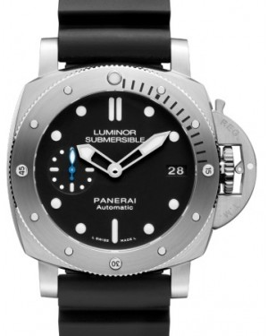 Panerai PAM 682 Submersible Stainless Steel Black Index / Dot Dial & Rotating Rubber Bracelet 42mm - BRAND NEW