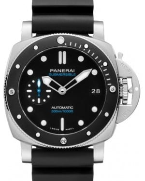 Panerai PAM 683 Submersible Stainless Steel Black Index / Dot Dial & Ceramic Rubber Bracelet 42mm - BRAND NEW