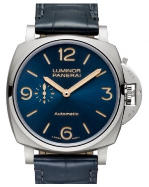 Panerai PAM 729 Luminor Due Titanium Blue Arabic / Index Dial & Smooth Leather Bracelet 45mm - BRAND NEW