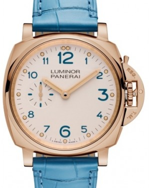 Panerai PAM 741 Luminor Due Red Gold Ivory Arabic Dial & Smooth Blue Leather Bracelet 42mm - BRAND NEW