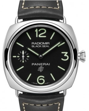 Panerai PAM 754 Radiomir Black Seal Logo Stainless Steel Black Arabic / Index Dial & Smooth Leather Bracelet 45mm - BRAND NEW