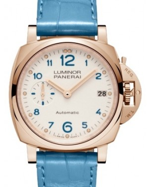 Panerai PAM 756 Luminor Due Red Gold Ivory Arabic Dial & Smooth Blue Leather Bracelet 38mm - BRAND NEW