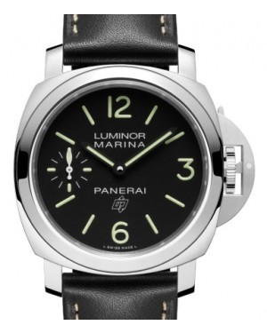 Panerai PAM 776 Luminor Logo Stainless Steel Black Arabic / Index Dial & Smooth Leather Bracelet 44mm - BRAND NEW