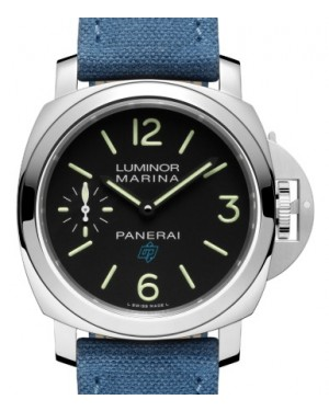Panerai PAM 777 Luminor Logo Stainless Steel Black Arabic / Index Dial & Smooth Fabric Bracelet 44mm - BRAND NEW