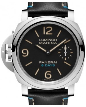 Panerai PAM 796 Luminor Left-Handed 8 Days Stainless Steel Black Arabic / Index Dial & Smooth Leather Bracelet 44mm - BRAND NEW
