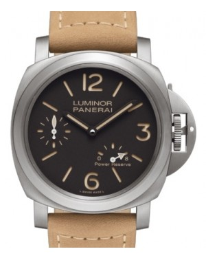 Panerai PAM 797 Luminor 8 Days Power Reserve Titanium Brown Arabic / Index Dial & Smooth Leather Bracelet 44mm - BRAND NEW
