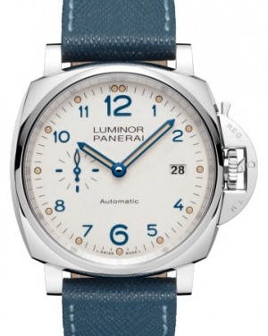Panerai PAM 906 Luminor Due Stainless Steel Ivory Arabic Dial & Smooth Leather Bracelet 42mm - BRAND NEW
