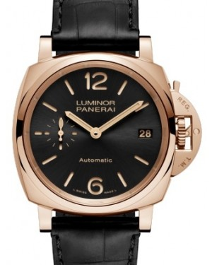 Panerai PAM 908 Luminor Due Red Gold Black Arabic / Index Dial & Smooth Leather Bracelet 38mm - BRAND NEW