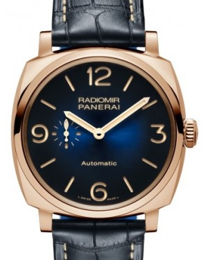 Panerai PAM 934 Radiomir Red Gold Blue Arabic / Index Dial & Smooth Leather Bracelet 45mm - BRAND NEW