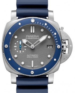 Panerai PAM 959 Submersible Stainless Steel Grey Index / Dot Dial & Ceramic Rubber Bracelet 42mm - BRAND NEW