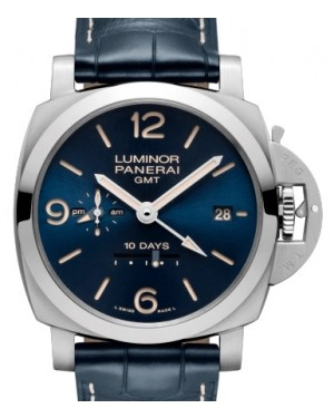 Panerai PAM 986 Luminor GMT 10 Days Stainless Steel Blue Arabic / Index Dial & Smooth Leather Bracelet 44mm - BRAND NEW