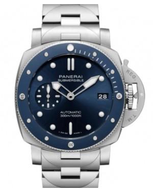 Panerai Submersible Blu Notte Steel 42mm Blue Dial Steel Bracelet PAM01068 - BRAND NEW