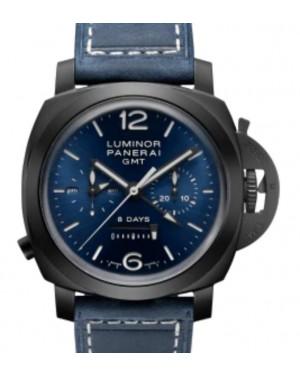 Panerai Luminor Chrono Monopulsante 8 Giorni GMT Blu Notte Black Ceramic 44mm Blue Dial Leather Strap PAM01135 - BRAND NEW