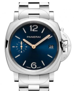 Panerai Luminor Due Piccolo Due Stainless Steel 38mm Blue Dial Steel Bracelet PAM01123 - BRAND NEW