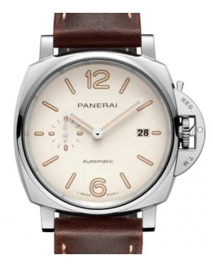 Panerai Luminor Due Stainless Steel 42mm White Dial Leather Strap PAM01046 - BRAND NEW