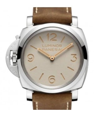 Panerai Luminor Left-Handed Stainless Steel 47mm White Dial Leather Strap PAM01075 - BRAND NEW