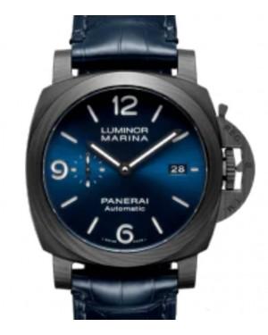 Panerai Luminor Marina Carbotech™ Blu Notte Carbon Fibre 44mm Blue Dial Alligator Leather Strap PAM01664 Online Exclusive - BRAND NEW
