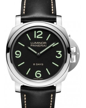 Panerai PAM 00560 Luminor Base 8 Days Stainless Steel Black Arabic/Index Dial & Leather Strap 44mm - BRAND NEW
