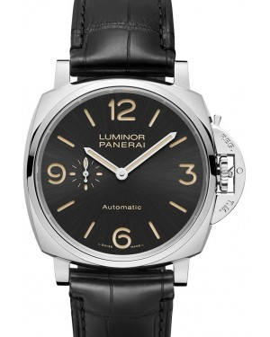 Panerai PAM 00674 Luminor Due Black Arabic/Index Dial & Leather Strap 45mm - BRAND NEW