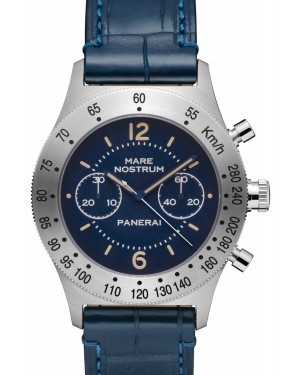 Panerai PAM 00716 Luminor Mare Nostrum Acciaio Blue Arabic/Index Dial & Leather Strap 42mm - BRAND NEW