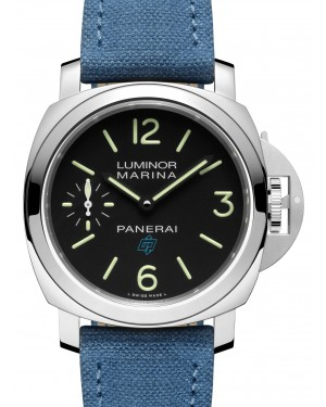 Panerai PAM 00777 Luminor Logo Stainless Steel Black Arabic/Index Dial & Leather Strap 44mm - BRAND NEW