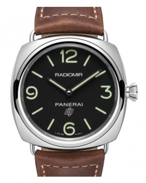 Panerai Radiomir Base Logo Stainless Steel 45mm Black Dial Leather Strap PAM00753 - BRAND NEW