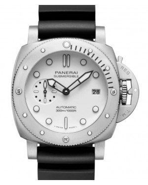 Panerai Submersible Stainless Steel 42mm White Dial Rubber Strap PAM01223 - BRAND NEW