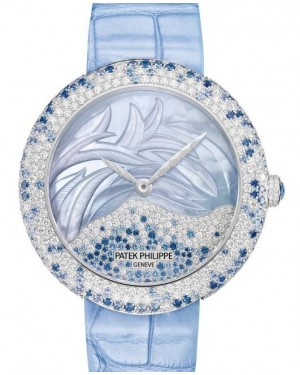 Patek Philippe Calatrava Haute Joaillerie White Gold 35.8mm Mother of Pearl Diamonds Blue Sapphires Set Blue Leather Automatic 4899/901G-001 - BRAND NEW