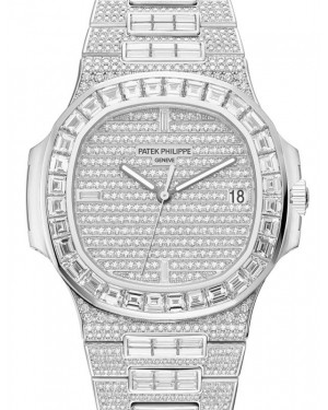 Patek Philippe Nautilus Date Sweep Seconds White Gold 40mm Diamond Pave Dial 5719/10G-010 - BRAND NEW