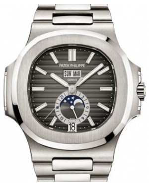 Patek Philippe 5726/1A-001 Nautilus Annual Calendar 40.5mm Black Moonphase Steel BRAND NEW