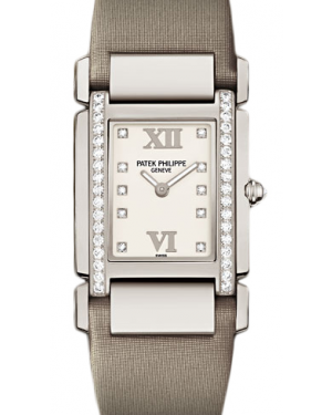 Patek Philippe Twenty~4 Ladies White Roman Dial Rose Gold Diamond Set Bezel White Leather Strap Quartz 4920G-010 - BRAND NEW