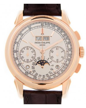 Patek Philippe 5270R-001 Grand Complications Perpetual Calendar Moon Phase Chronograph 41mm Silver Opaline Index Rose Gold Leather Manual - Brand New