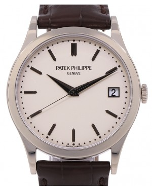 Patek Philippe 5296G-010 Calatrava 38mm White Opaline Index Date White Gold Brown Leather - PRE OWNED