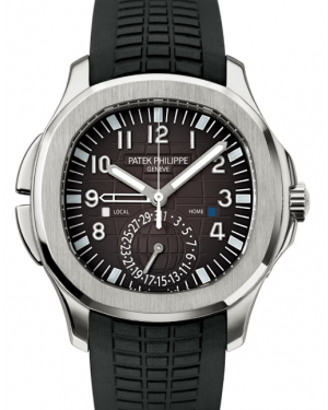 Patek Philippe Aquanaut Travel Time Stainless Steel 40.8 mm Black Dial Rubber Bracelet 5164A-001 - BRAND NEW