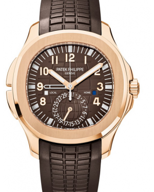 Patek Philippe Aquanaut Travel Time Rose Gold Brown 40.8mm Dial Rubber Strap 5164R-001 - BRAND NEW