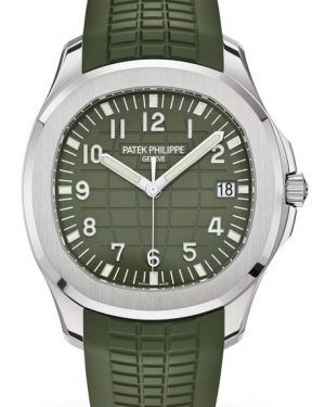 """Patek Philippe Aquanaut """"Jumbo"""" White Gold 42.2mm Green Dial Composite Green Strap 5168G - PRE-OWNED"""